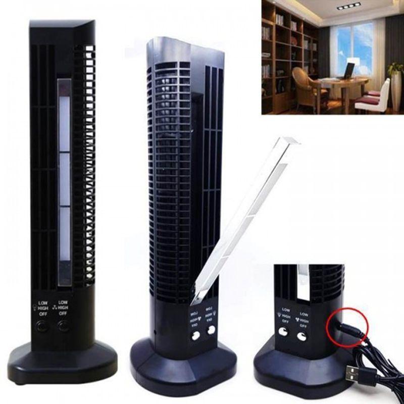 Mini Ventilador Abajur Vertical Torre usb mesa computador luminaria Preto