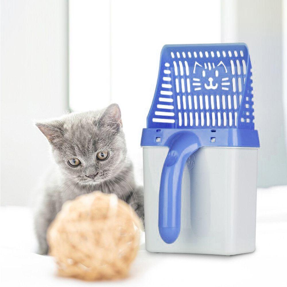 Pa Coletora Fezes Gato Cachorro Pazinha Pet Lixeira Higienica Azul Peneira Areia