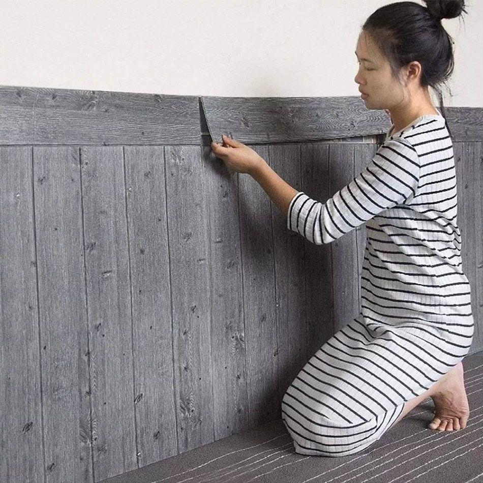 Papel de Parede 3D Madeira Cinza Placa Painel Adesivo Decorativo 70 x 70 cm