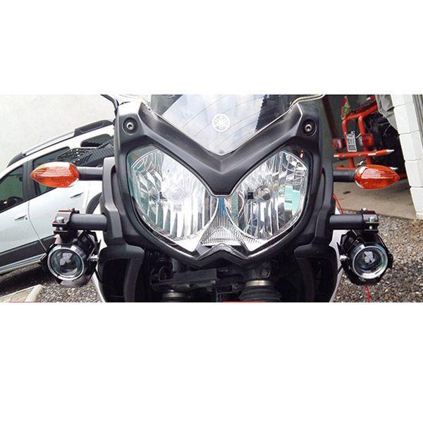 Par Farol de Milha Led U5 Moto Motocicleta Universal Branca 30w