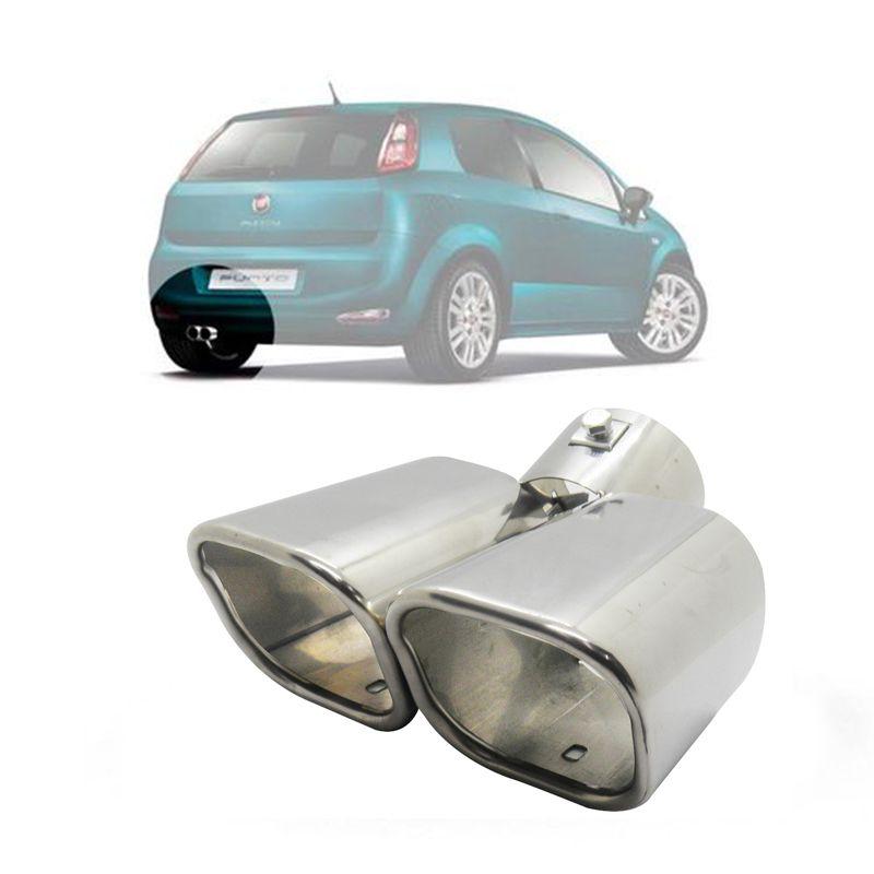Ponteira Dupla Automotivo Aço Inox  Universal Carro Escapamento Cromada