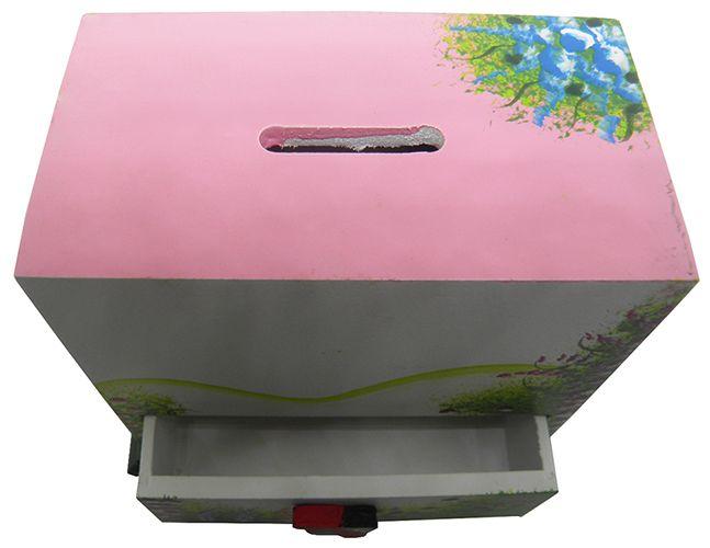 Porta Joias Organizador De Bijuterias Mulher Brinco Cordao Cofre Branco Com Rosa (MAD-6679-3)