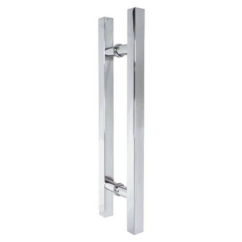 Puxador Para Porta Aco Inox Duplo 60cm Quadrado Porta Pivotante Vidro H Casa (BSL-PXD-5)