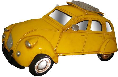 Quadro Carro Fusca 3d Em Metal Espelhado Para Parede Deco Vintage Retro Amarelo