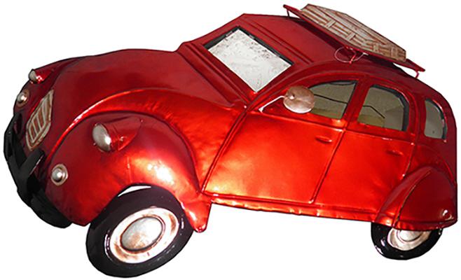 Quadro Fusca 3d Para Parede Em Metal Espelhado para Decoração Carro Vintage Vermelho