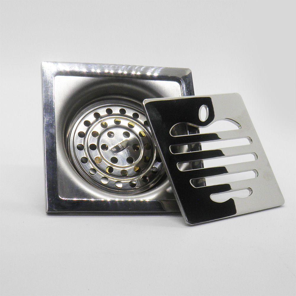Ralo Abertura Anti Insetos Inox para Banheiro 10X10 Maça