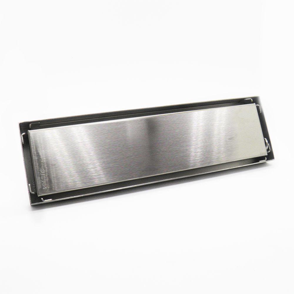 Ralo Invisivel Chapa Linear Inox Escovado Anti Odor Canto Banheiro 28x8