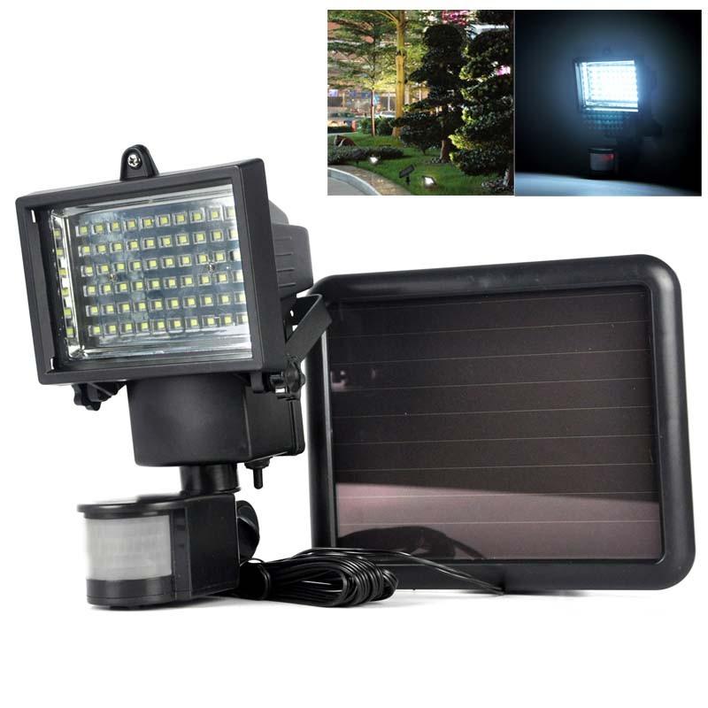 Refletor Solar De 60 Leds Com Sensor Movimento Holofote Iluminacao Segura Economica Com Painel Solar