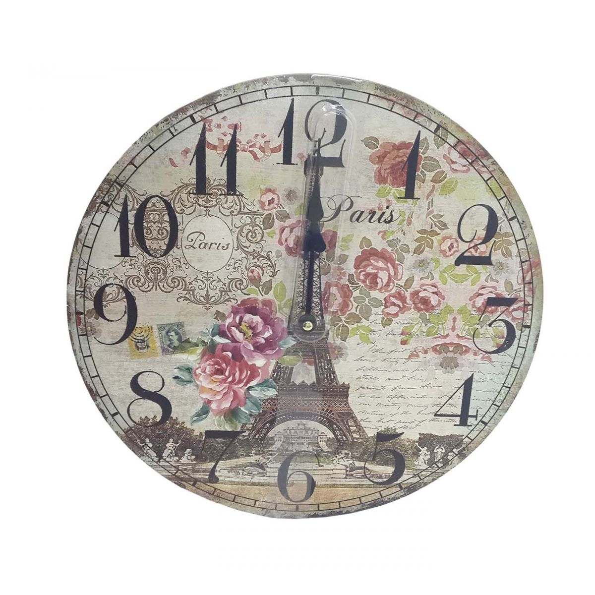 d0ef80ff804 Relogio De Parede Para Decoracao Retro Paris Torre Flor 32cm (XIN-01) -  Ideal Importados