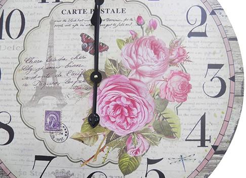 Relogio De Parede Redondo Grande Vintage Retro Decoracao Torre Eiffel Com Rosas Para Casa (XIN-02)