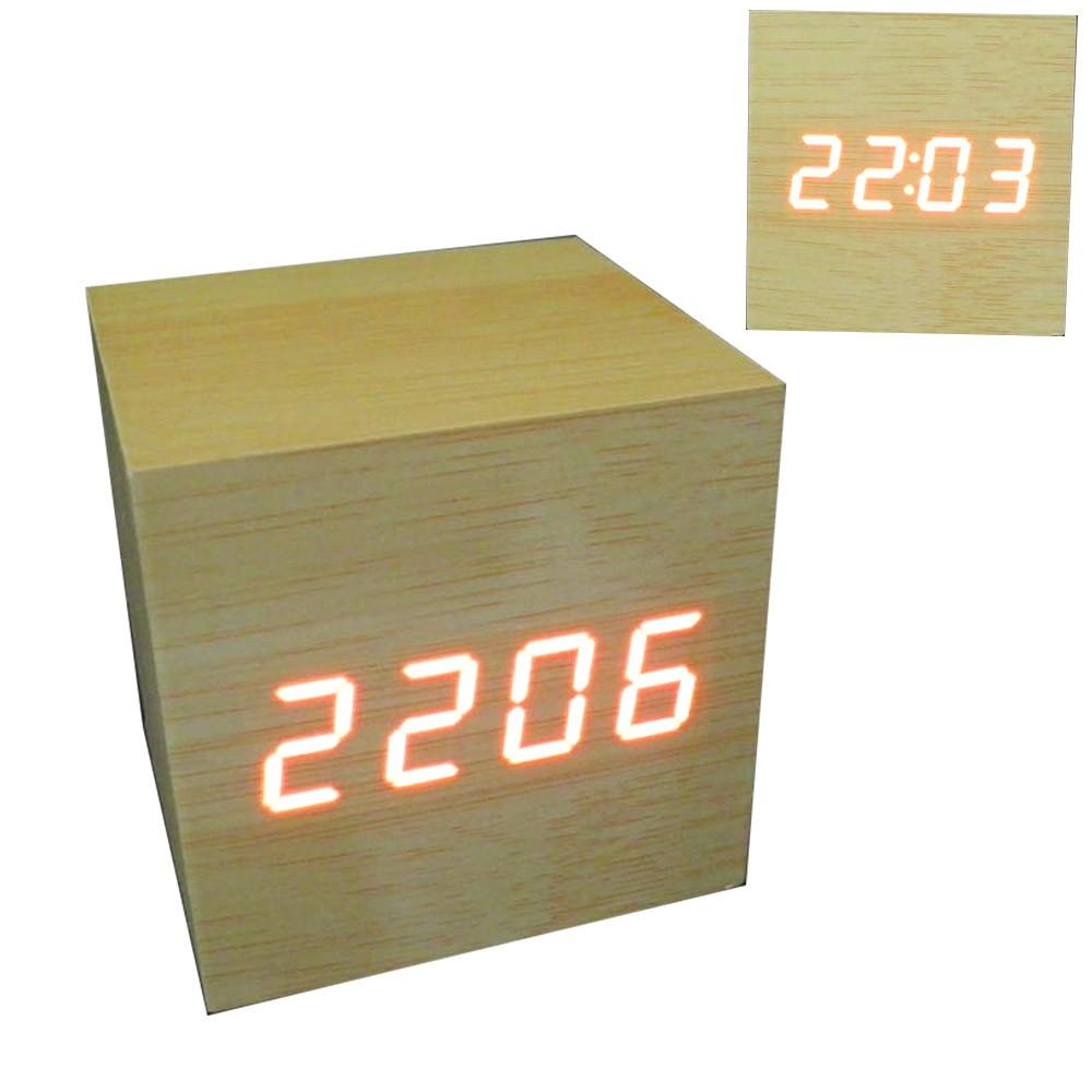 abd42e64557 Relogio Digital de Mesa Led Cubo Madeira Alarme Sensor Termometro Cor Bege  (JA80600   Cubo) - Ideal Importados