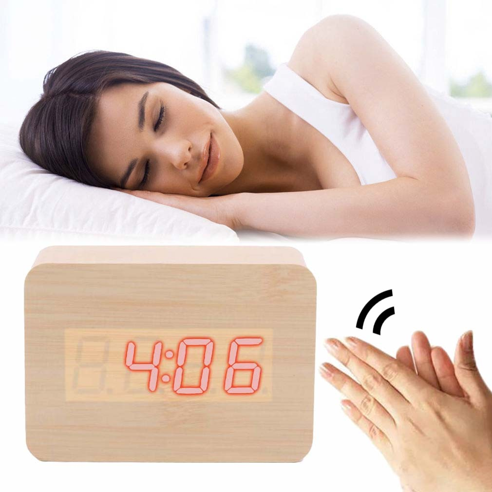 673a29c00f1 Relogio Digital Led Madeira Alarme Mesa Termometro Funçao Voice Control  Bege (JA80600) - Ideal Importados