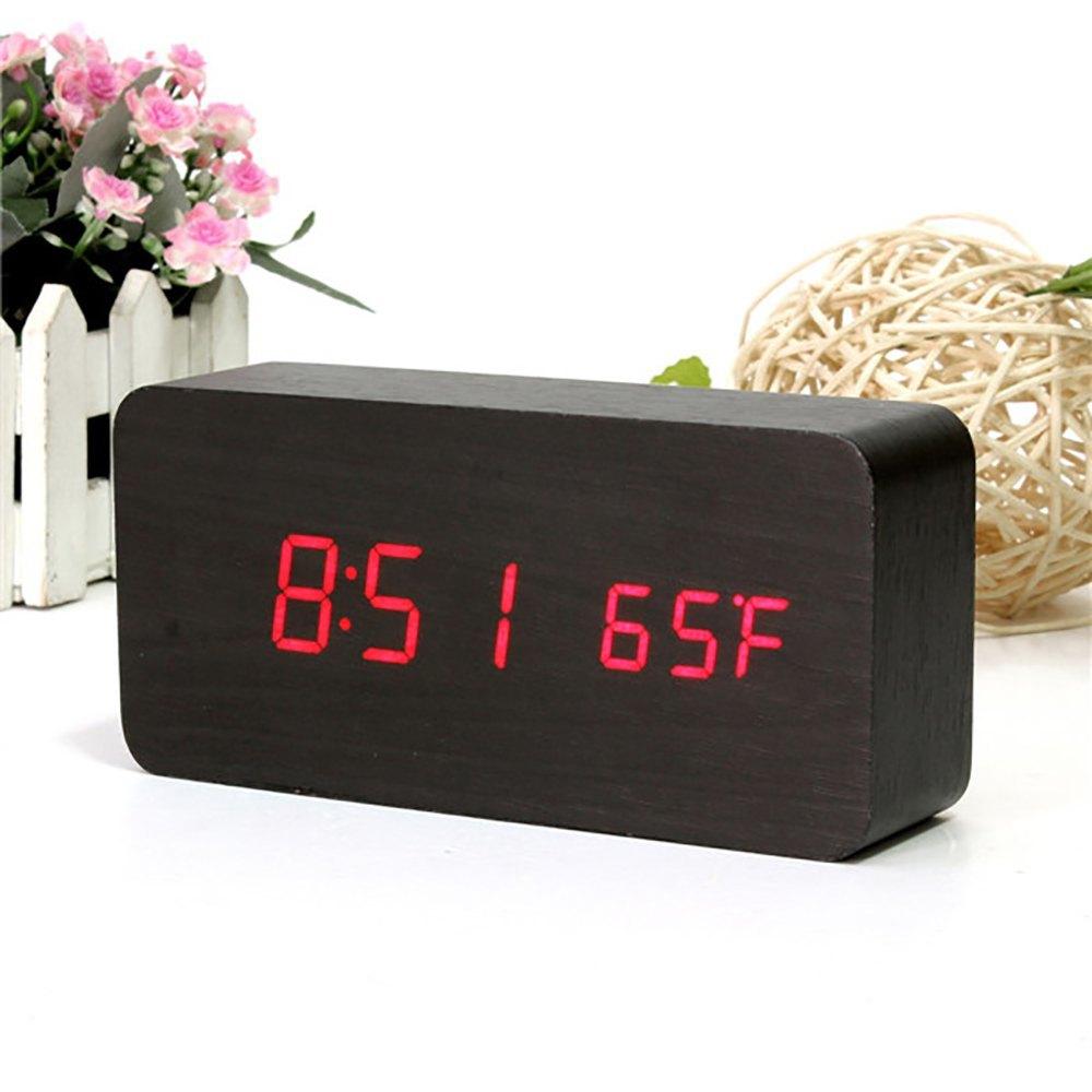 b8c38ca4550 Relogio Digital Led Madeira Despertador Termometro Cabeceira Preto (  JA90493) - Ideal Importados