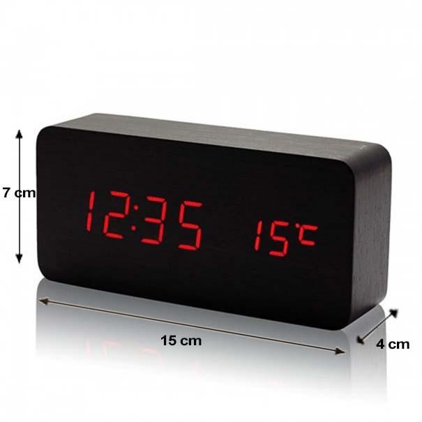 d81a06d3a0c Relogio Digital Led Madeira Despertador Termometro Cabeceira Preto (  JA90493) - Ideal Importados