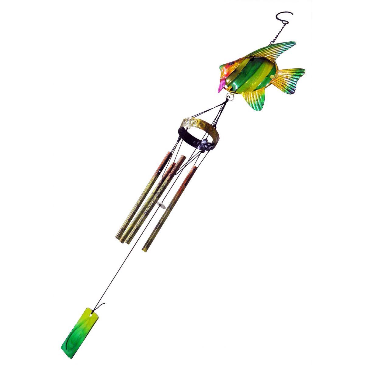 Sino Ventos Tradicional Peixe Colorido Verde Bandeira