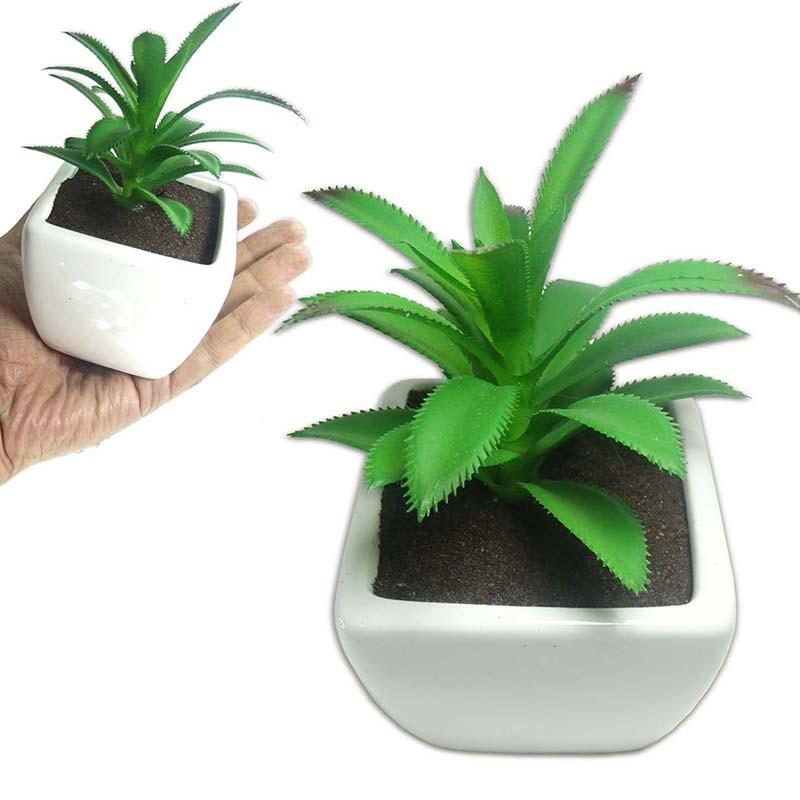 Suculenta Planta Artificial Cacto Com Vaso Branco Ornamentacao Festa Ponta Vermelha (SH-2 MOD4)