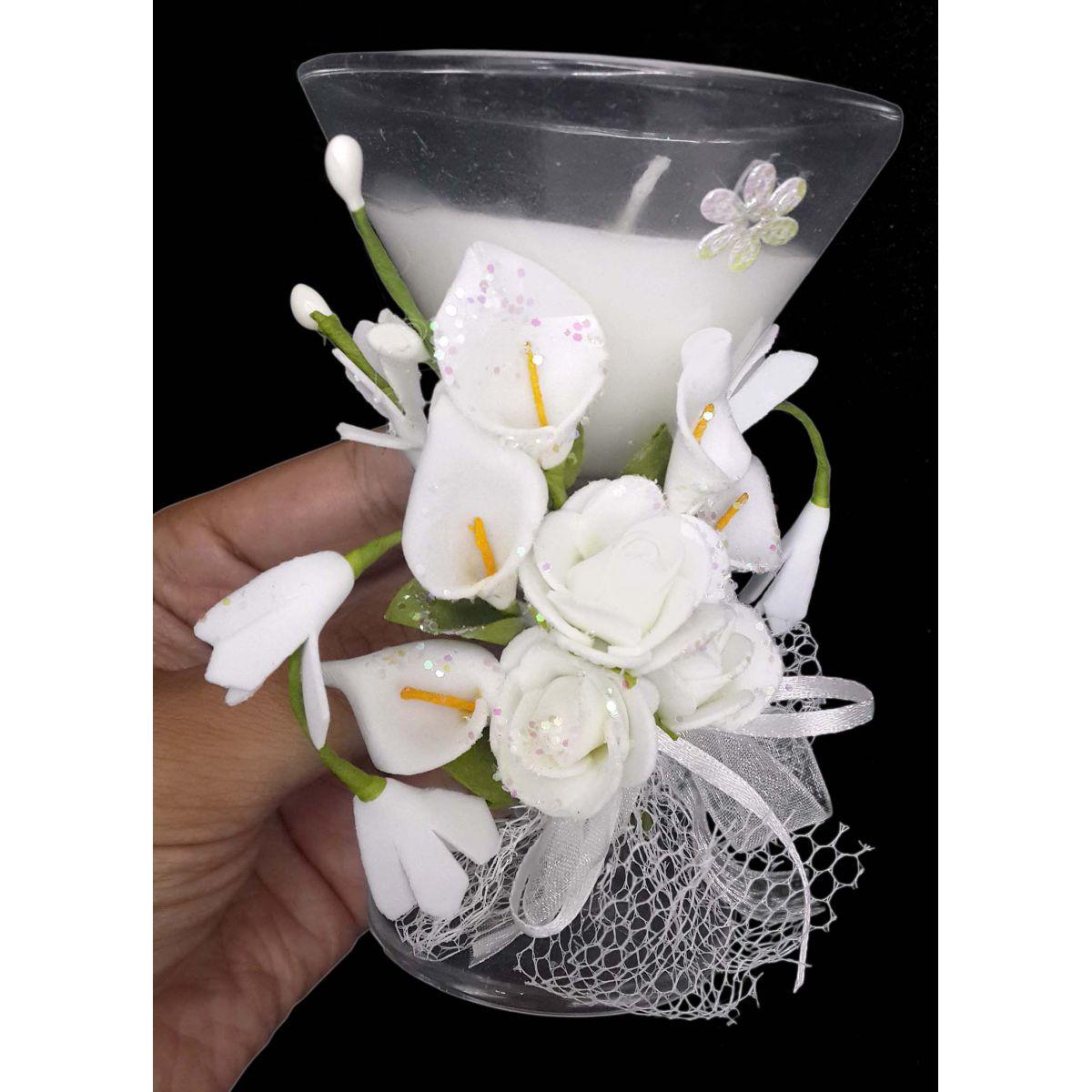 Vela Parafina Decorativa Media Larga Festas Casamento 15 Anos Flor Branca (WL-D)