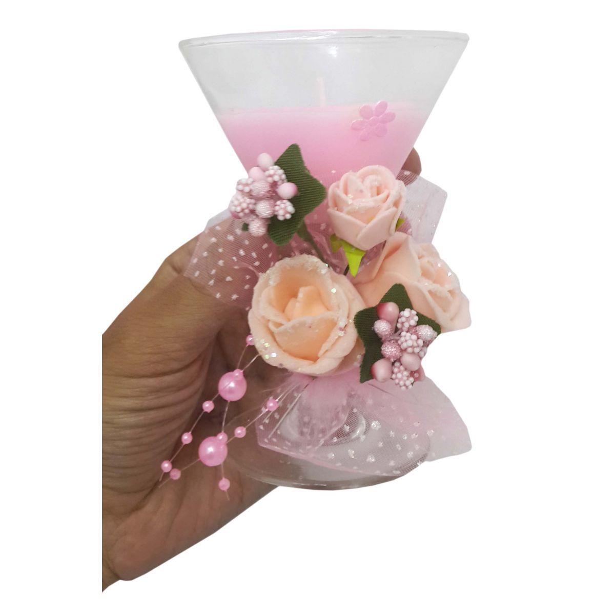 Vela Parafina Decorativa Media Larga Festas Casamento 15 Anos Flor Kit Com 12 Rosa (WL-D)