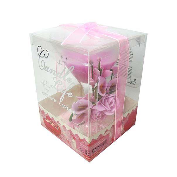 Vela Parafina Decorativa Media Larga Festas Casamento 15 Anos Flor Kit Com 36 Rosa Ponta Amarela (WL-D)