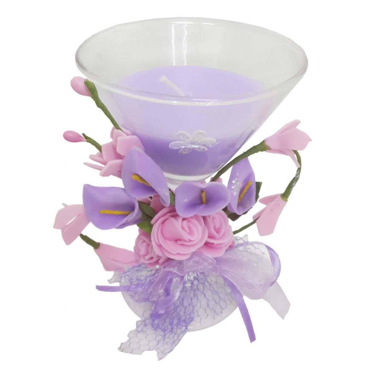 Vela Parafina Decorativa Media Larga Festas Casamento 15 Anos Flor Lilas (WL-D)