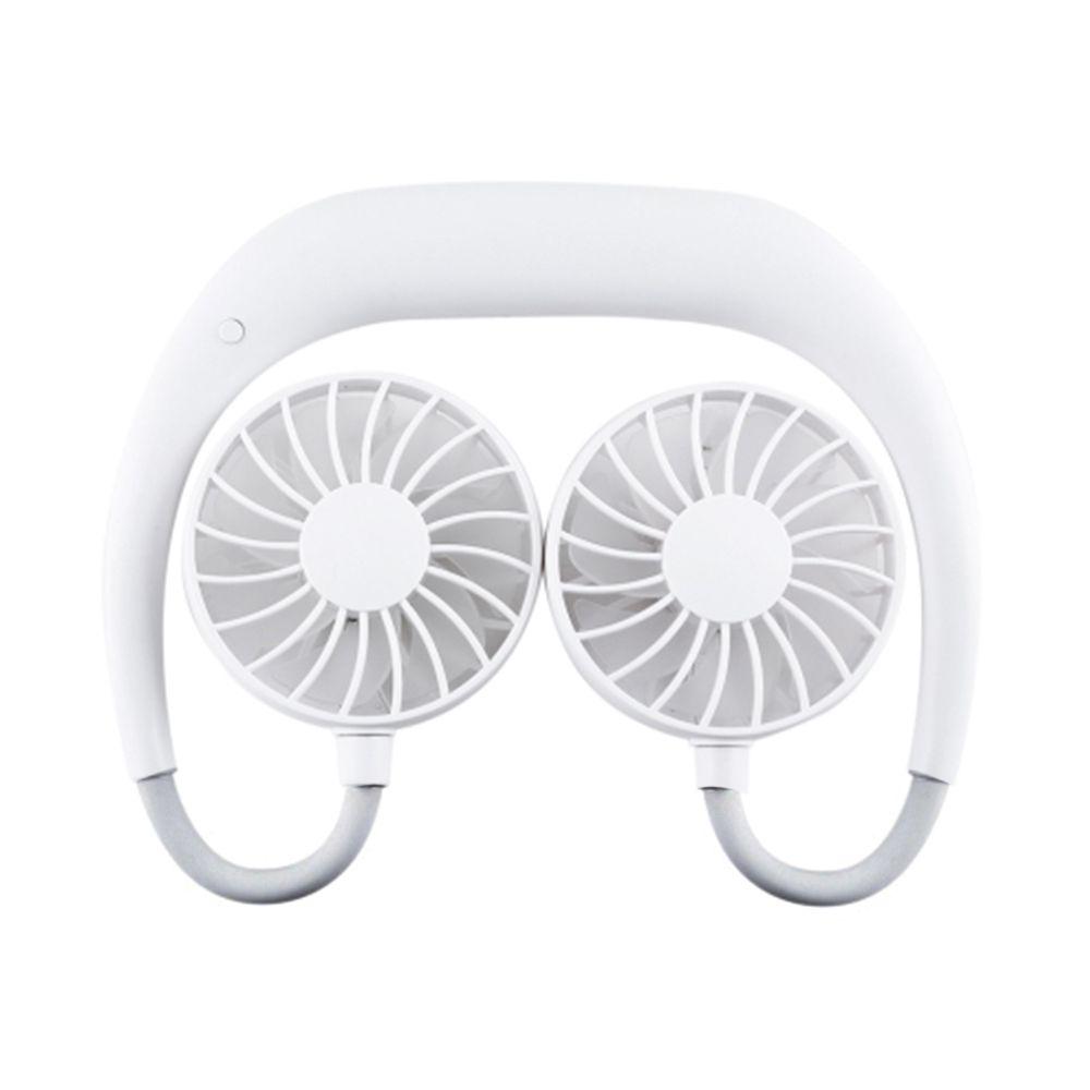 Ventilador Mini Portatil USB Branco Pendurar Pescoço Bateria Lazer Esportes