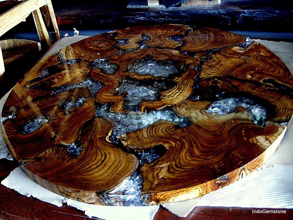 Mesa Em Madeira De Demoli 231 227 O Com Resina 90 Cm