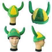 Chapéu Viking Brasil Verde Amarelo em Camurça