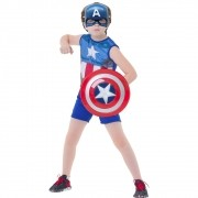 Fantasia Capitão América Pop Com Escudo - Infantil