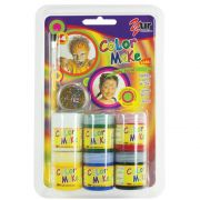 Pintura Líquida Kit 6 cores com 15ml, pincel e Glitter Dourado Kids - Color Make