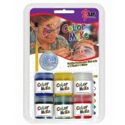 Pintura Líquida Kit 6 cores de 15ml, pincel e Glitter Prata - Color Make