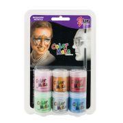 Pintura Líquida Kit com 6 cores de 15ml Metálicas e Pincel - Color Make