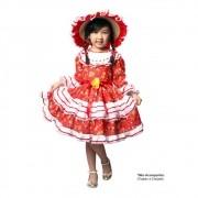 Vestido Caipira Vermelho Festa Junina - Infantil
