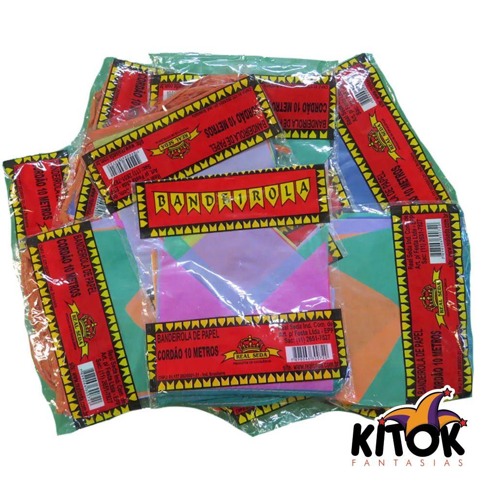 Bandeirinha Festa Junina Papel 10 Metros - Kit com 12 unidades