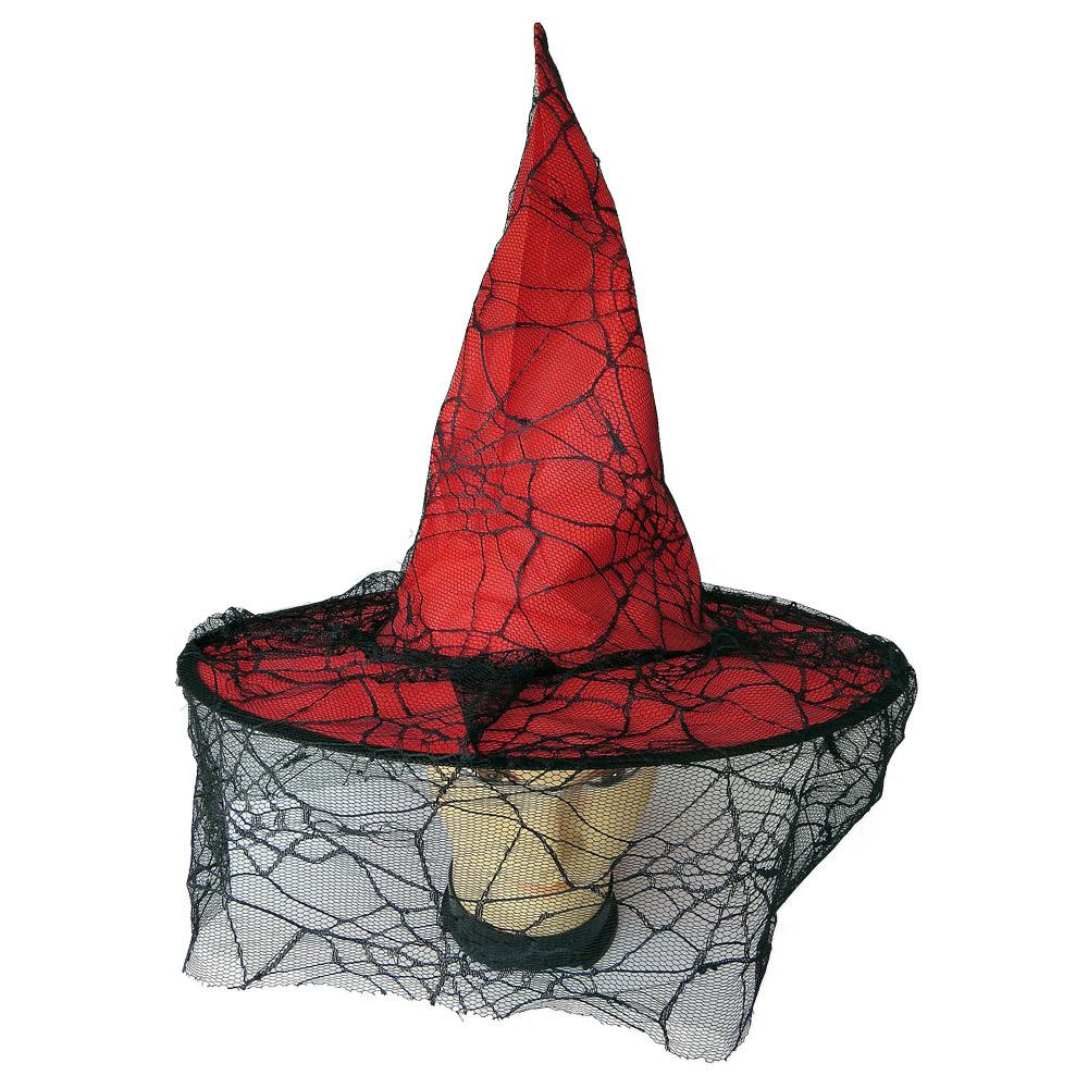 Chapéu de Bruxa com Renda de Teia de Aranha - Vermelho