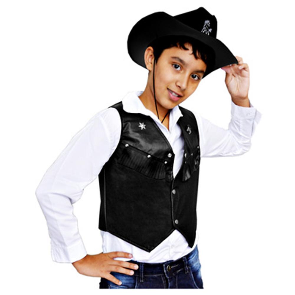 499f85bc0e576 Colete Country Cowboy Decorado Preto - Infantil - Kitok Festas e Fantasias