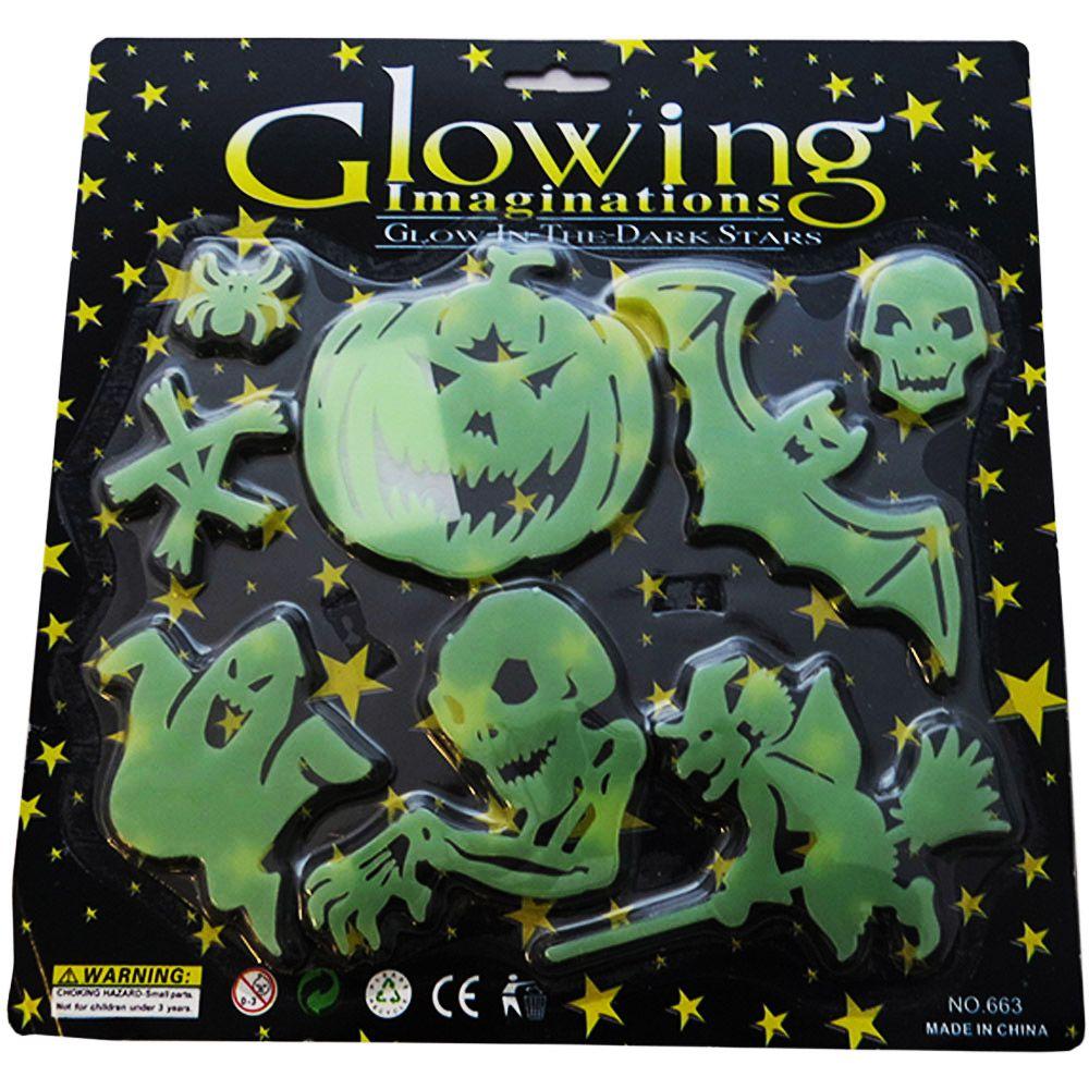 Decoração Halloween Figuras Neon Brilham no Escuro 4 Unidades