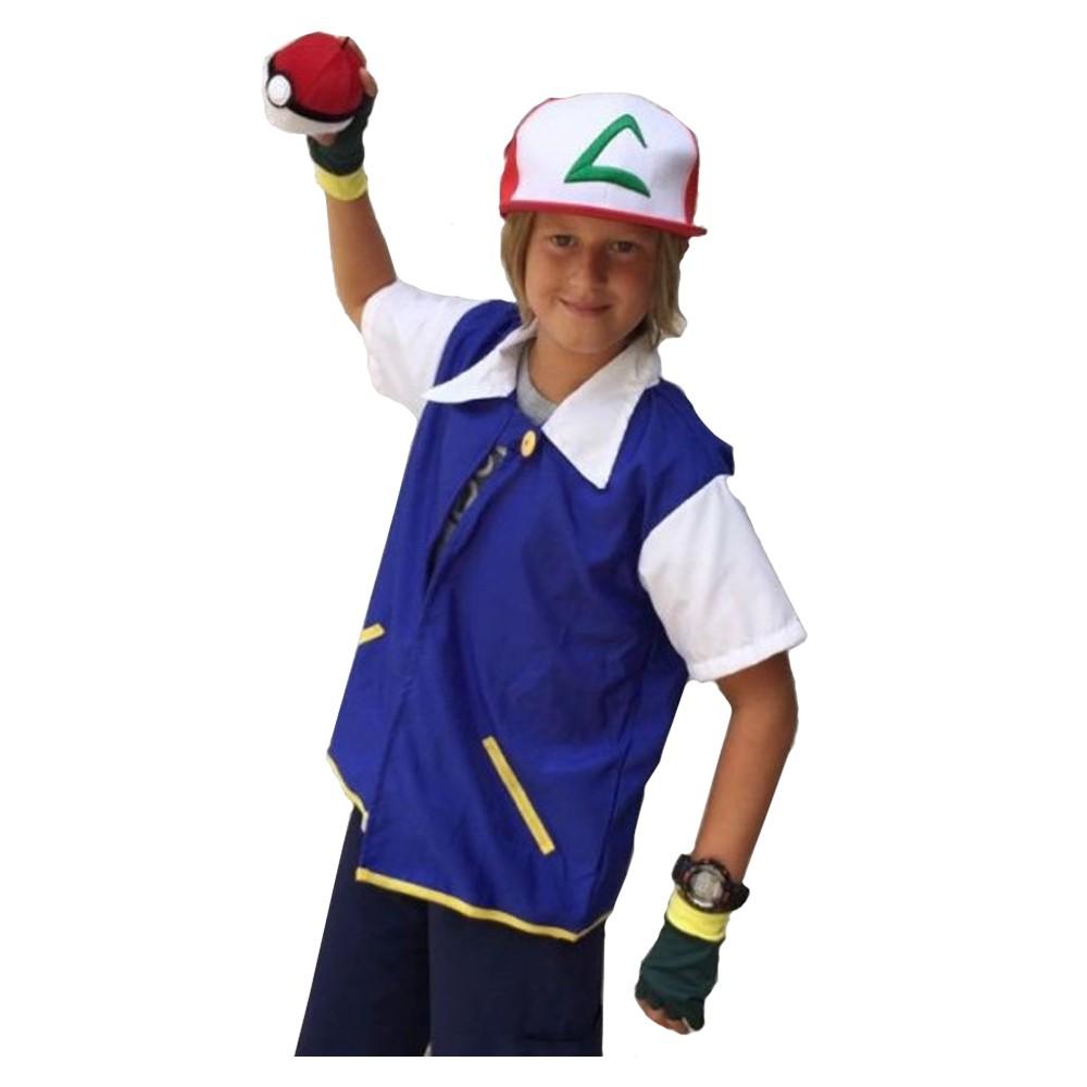 Fantasia Ash Ketchum Treinador Pokémon - Infantil