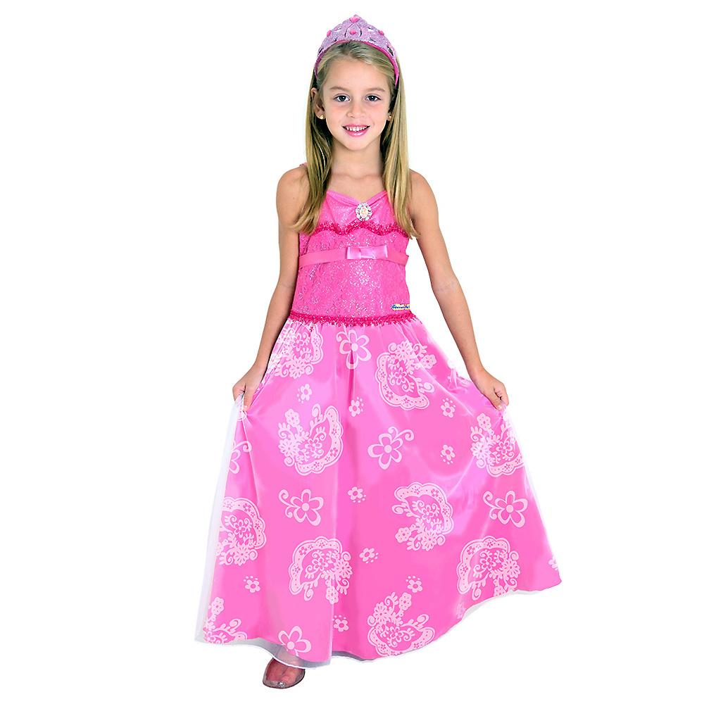 Fantasia Barbie Princesa Pop Star Rosa Luxo - Infantil