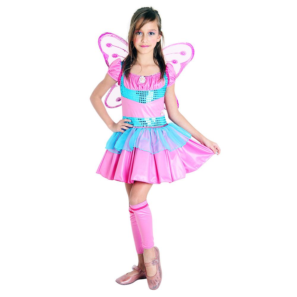 Fantasia Fada Winx Rosa e Azul Bloom - Infantil