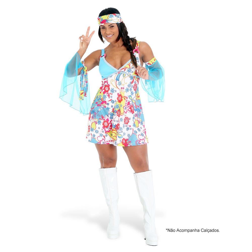 Fantasia Hippie Vestido - Adulto