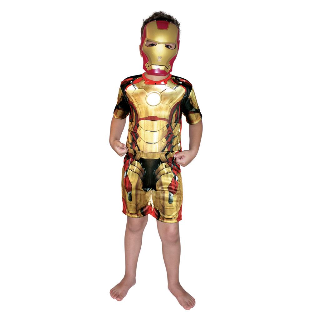 Fantasia Iron Man 3 - Homem de Ferro Dourado Curto - Infantil