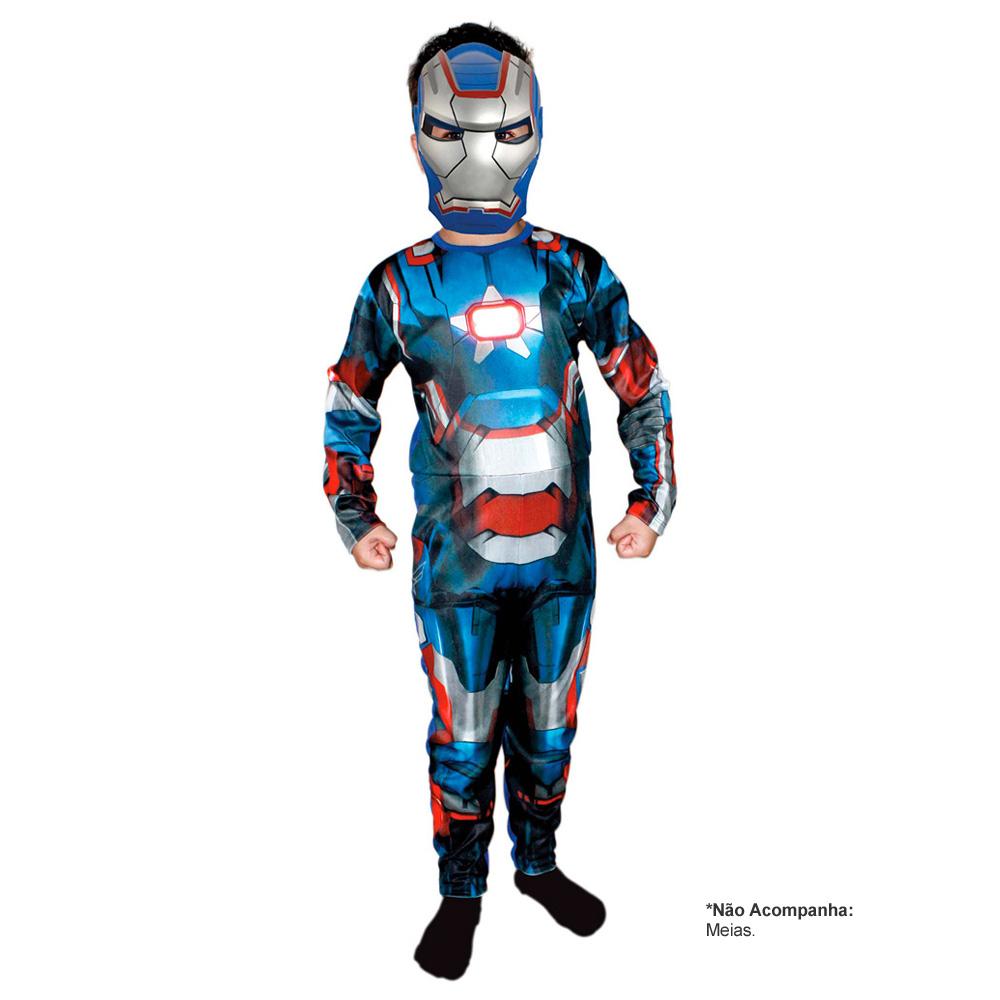 Fantasia Iron Man 3 Homem de Ferro Patriota Longo - Infantil