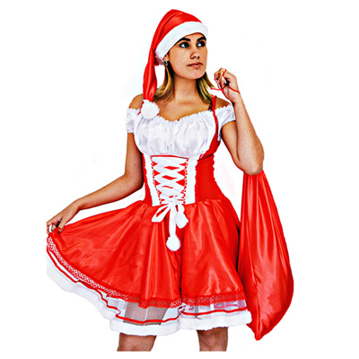 900b2c526 Fantasia Mamãe Noel em Poliéster com Renda - Adulto - Kitok Festas e  Fantasias