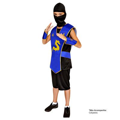 Fantasia Ninja Azul modelo Curto - Infantil