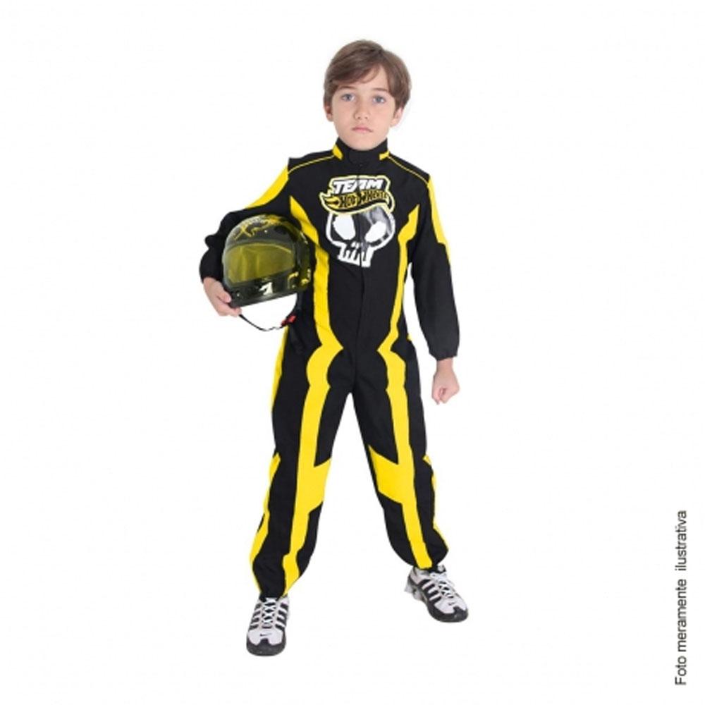 Fantasia Piloto Hot Wheels Luxo com Capacete Amarelo - Infantil