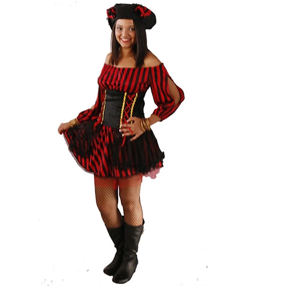 Fantasia Pirata Luxo Feminina - Adulto - Kitok Festas e Fantasias ddb3cb37cec