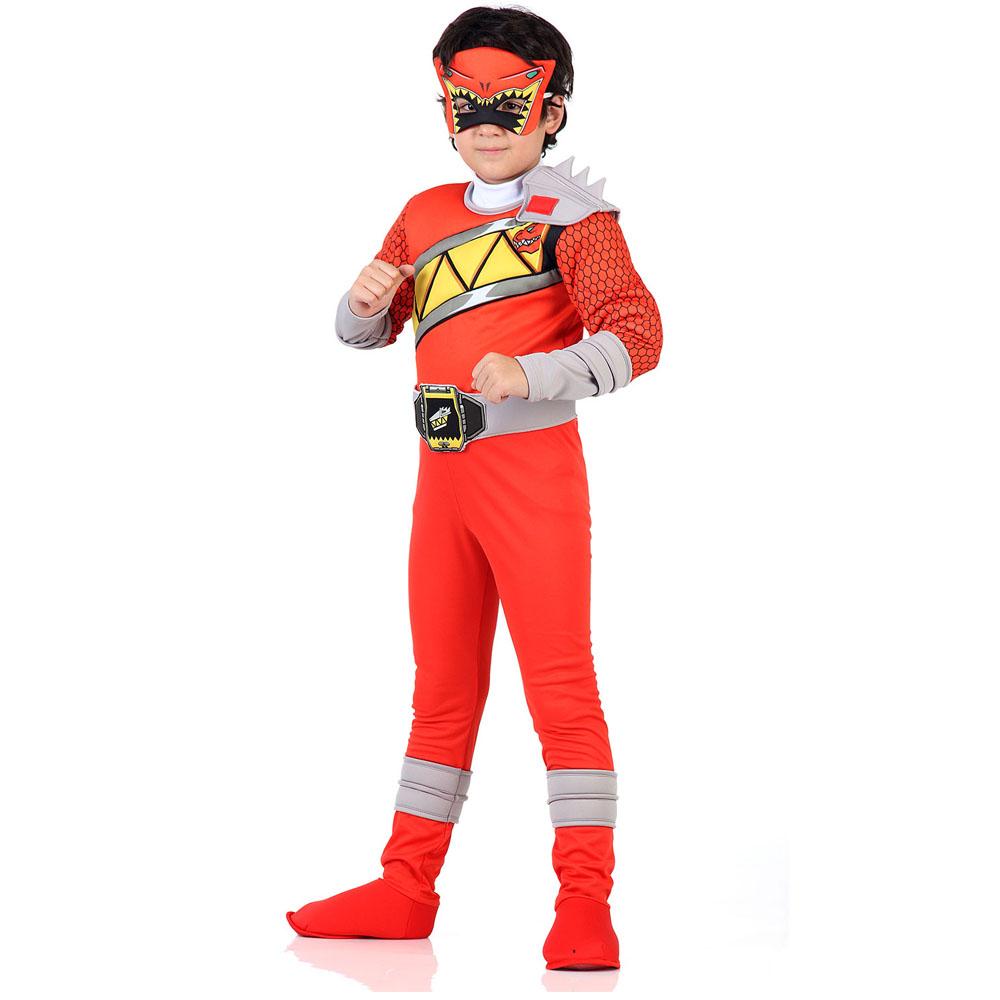 Fantasia Power Rangers Dino Charge Luxo Vermelho - Infantil