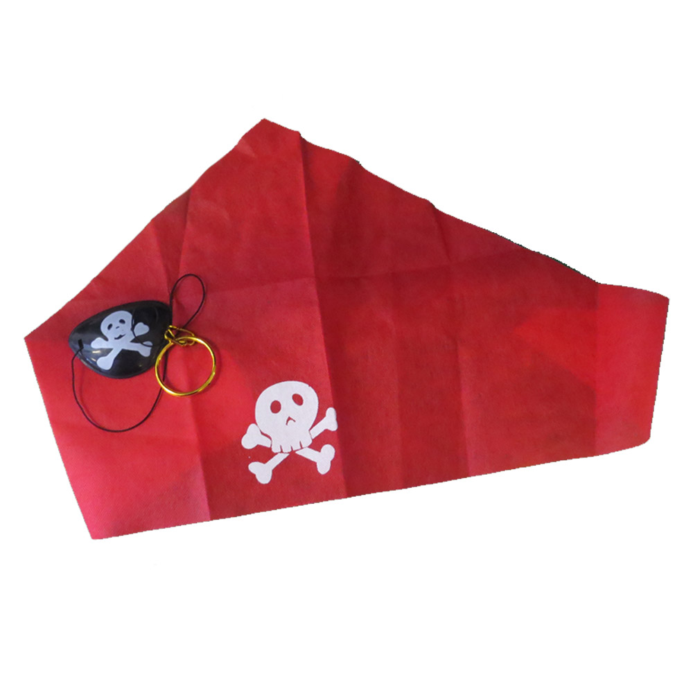 Kit Pirata com Brinco, Tapa Olho e Bandana