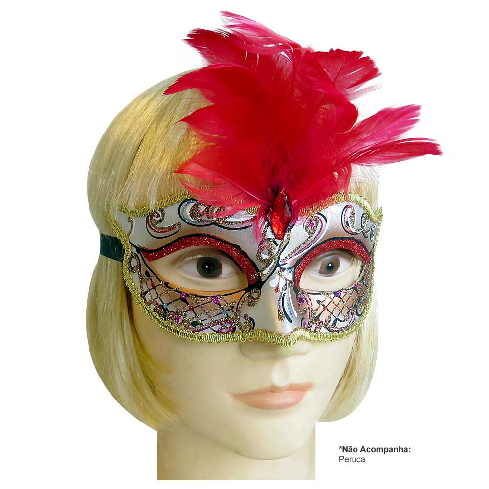 Máscara de Carnaval modelo Veneziana com Pluma - Adulto