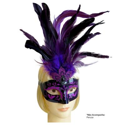 Máscara de Carnaval Roxa com Pluma e Glitter - Modelo Caribe - Adulto